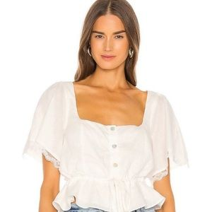LPA NEW Winslet White Linen Blend Peasant Top